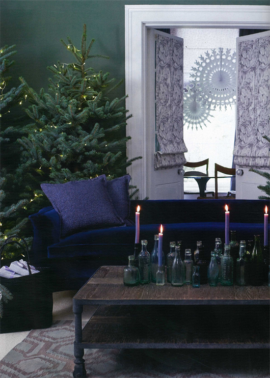 furnishings and accessories in wintery tones of violet sage and silver