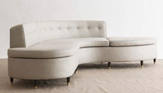 A two part buttoned back Sectional sofa