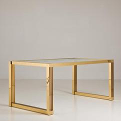A 1970s Brass Framed Table with Inset Glass Top