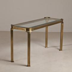 A Brass and Glass Mastercraft Console Table USA 1970s