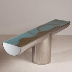 A Brueton Designed Steel Wrapped Cantilevered Console Table