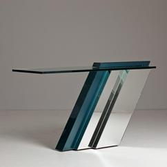 A Cantilevered Console Table with Mirrored Base 1980s