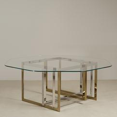 A Contemporary Brass and Stainless Steel Octagonal Dining Table