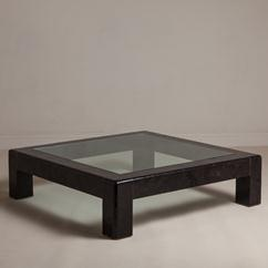 A Crushed Shell Veneered Coffee Table by Karl Springer 1980s