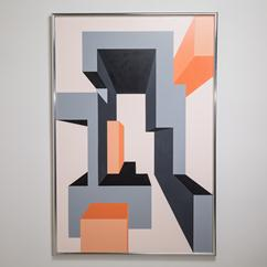 A Framed Geometric Painting by Leonard E L Horowitz 1976