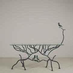 A Giacometti Inspired Simulated Tree Console Table 1980s