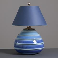 A Italian Blue and White Striped Ceramic Lamp 1960s