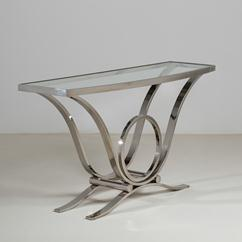 A Karl Springer Style Nickel Framed Console Table 1980s