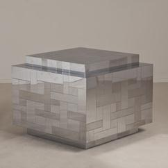 A Large Chrome Cube/Side Table designed by Paul Evans 1975