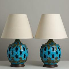 A Large Pair of Drip Glaze Turquoise Ceramic Table Lamps 1960s