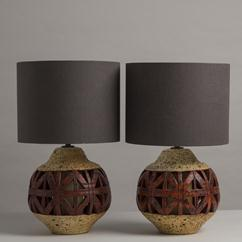 A Large Pair of Glazed Ceramic Lava Table Lamps 1960s