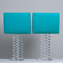 A Large Pair of Octagonal Stacked Lucite Table Lamps 1970s