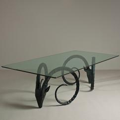 A Large Pair of Rams Head Dining Table Bases 1970s