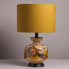 A Large Pair of Reverse Painted Panther Glass Table Lamps 1960s