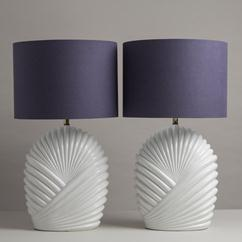 A Large Pair of Tommaso Barbi Style Glazed Ceramic Table Lamps 1980s