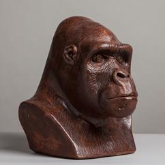 A Large Terracotta Gorilla Head Sculpture USA 1984