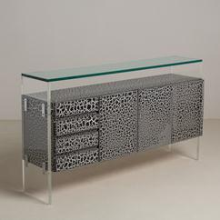 A Lucite Ended Black and White Crackled Effect Cabinet 1980s