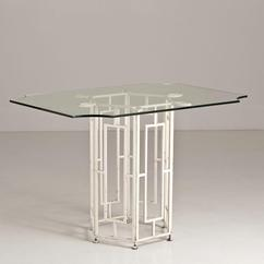 A Mackintosh Style Iron Based Table with Glass Top