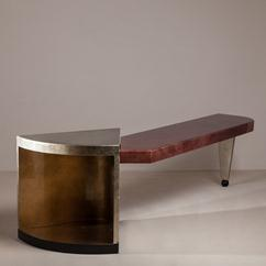 A Memphis Style Parchment and Silver Lacquered Console Table