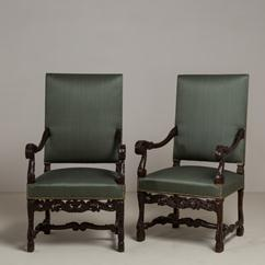 A Pair of 19th Century Carved Walnut Upholstered Armchairs