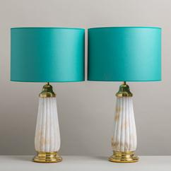 A Pair of Alabaster Fluted Column Table Lamps