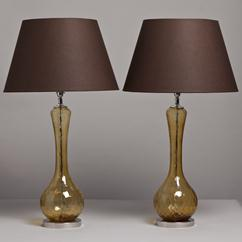A Pair of Amber Murano Glass Lamps on Nickel Bases 1950s