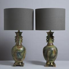 A Pair of Asian Modern Glazed Ceramic Table Lamps 1970s