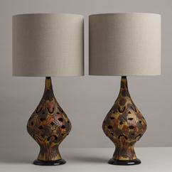 A Pair of Autumnal Toned Cut Out Ceramic Table Lamps 1960s