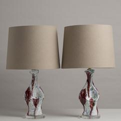 A Pair of Biomorphic Shaped Glazed Ceramic Table Lamps 1970s