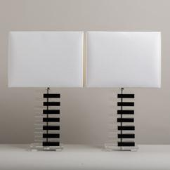 A Pair of Black and Clear Lucite Stacked Table Lamps 1970s