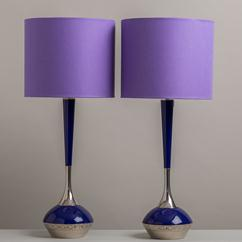 A Pair of Blue Lacquer and Nickel Plated Table Lamps 1960s