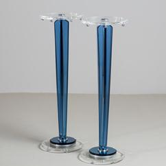 A Pair of Blue and Clear Lucite Tapered Pedestals 1970s
