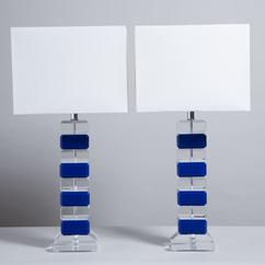 A Pair of Blue and Clear Stacked Lucite Table Lamps 1980s