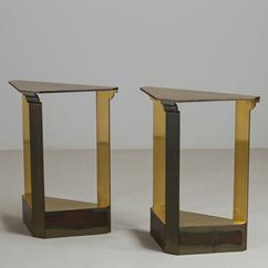 A Pair of Brass Console Tables by John Saladino for Baker 1984