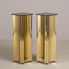 A Pair of Brass Pedestals by Curtis Jere 1984 signed