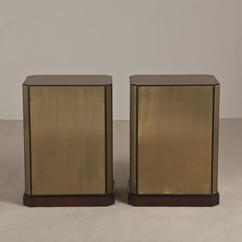 A Pair of Brass Veneered Drexel Table Bases/Pedestals 1970s