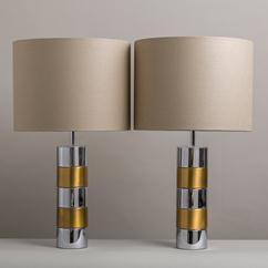 A Pair of Brass and Chrome Wrapped Table Lamps 1980s