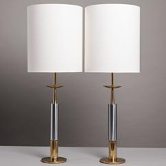 A Pair of Brass and Nickel Column Table Lamps by Stiffel 1960s