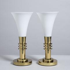 A Pair of Brass and Opaque Glass Torchere Table Lamps 1970s