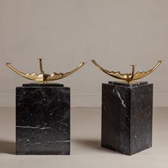 A Pair of Bronze and Marble Side Tables 1970s