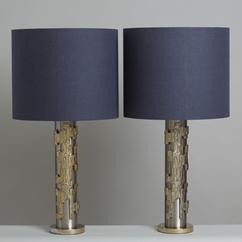 A Pair of Brutalist Brushed and Textured Metal Lamps 1970s