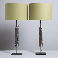A Pair of Brutalist Patinated and Textured Metal Table Lamps