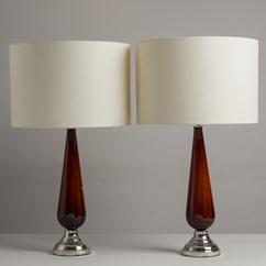 A Pair of Burnt Red Murano Glass Lamps stamped Italy 1960s
