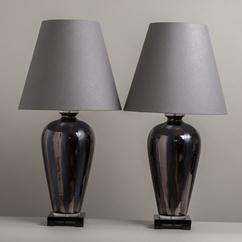 A Pair of Ceramic Table Lamps on Lucite Bases 1970s