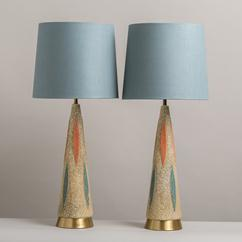 A Pair of Chalkware Lamps by F.A.I.P 1960s
