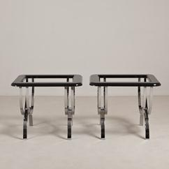 A Pair of Chrome Based Jet Black Lacquer Side Tables 1970s