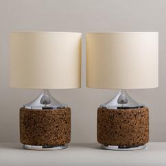 A Pair of Chrome and Cork Table Lamps 1970s