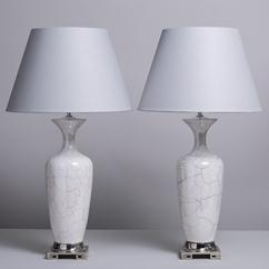 A Pair of Crackled Glazed Ceramic Asian Modern Table Lamps 1970s