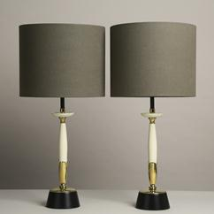 A Pair of Cream and Brass Rembrandt designed Table Lamps 1960s