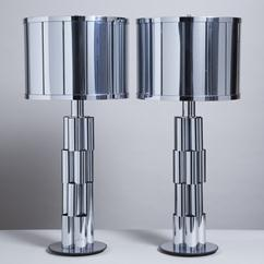 A Pair of Curtis Jere Sculptural Metal Table Lamps 1970s